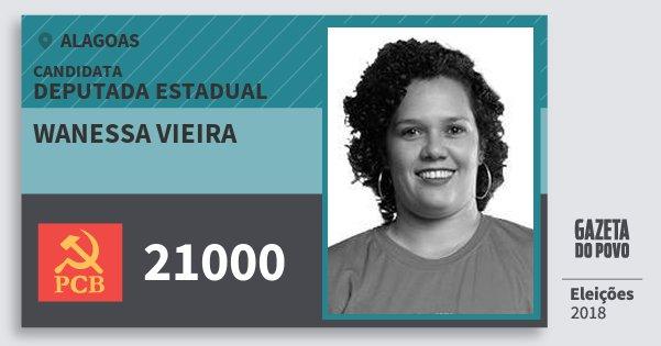Santinho Wanessa Vieira 21000 (PCB) Deputada Estadual | Alagoas | Eleições 2018