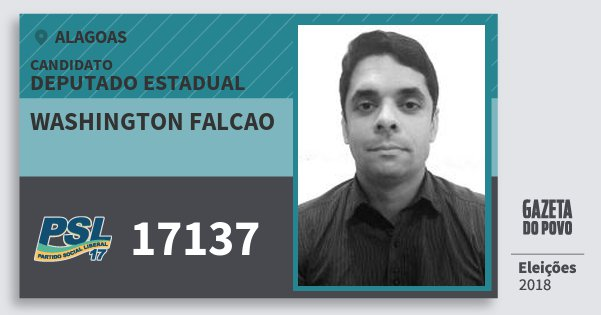 Santinho Washington Falcao 17137 (PSL) Deputado Estadual | Alagoas | Eleições 2018