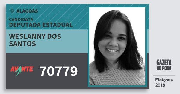 Santinho Weslanny dos Santos 70779 (AVANTE) Deputada Estadual | Alagoas | Eleições 2018