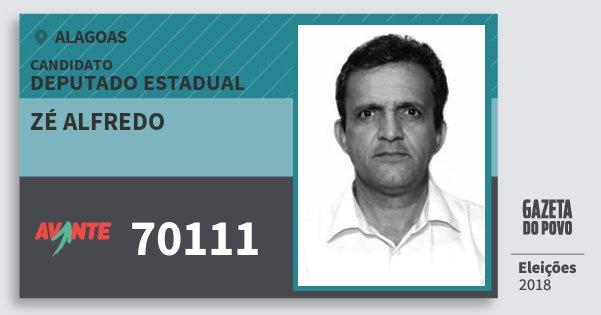 Santinho Zé Alfredo 70111 (AVANTE) Deputado Estadual | Alagoas | Eleições 2018