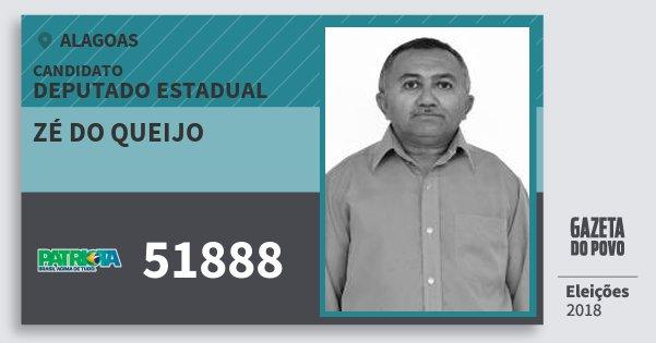 Santinho Zé do Queijo 51888 (PATRI) Deputado Estadual | Alagoas | Eleições 2018