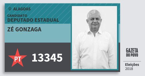 Santinho Zé Gonzaga 13345 (PT) Deputado Estadual | Alagoas | Eleições 2018
