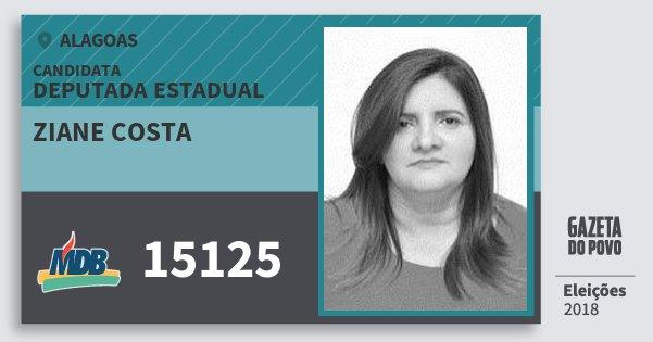 Santinho Ziane Costa 15125 (MDB) Deputada Estadual | Alagoas | Eleições 2018