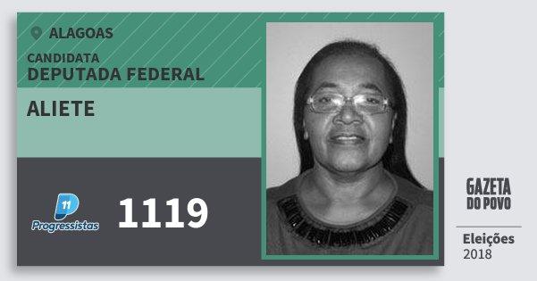 Santinho Aliete 1119 (PP) Deputada Federal | Alagoas | Eleições 2018