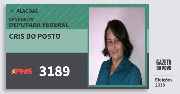 Santinho Cris do Posto 3189 (PHS) Deputada Federal | Alagoas | Eleições 2018