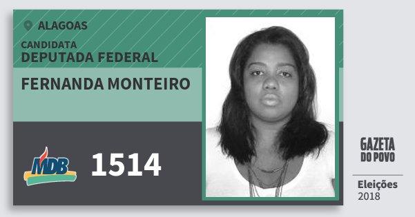 Santinho Fernanda Monteiro 1514 (MDB) Deputada Federal | Alagoas | Eleições 2018