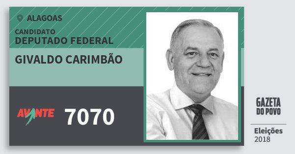 Santinho Givaldo Carimbão 7070 (AVANTE) Deputado Federal | Alagoas | Eleições 2018