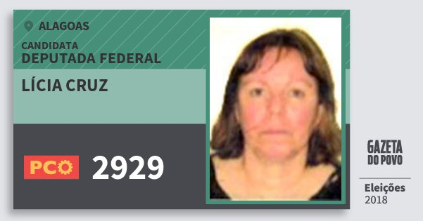 Santinho Lícia Cruz 2929 (PCO) Deputada Federal | Alagoas | Eleições 2018