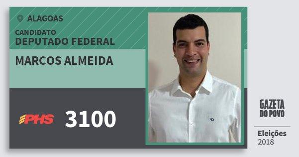 Santinho Marcos Almeida 3100 (PHS) Deputado Federal | Alagoas | Eleições 2018