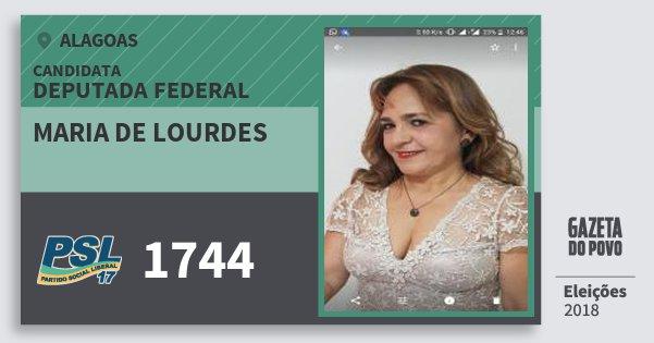 Santinho Maria de Lourdes 1744 (PSL) Deputada Federal | Alagoas | Eleições 2018