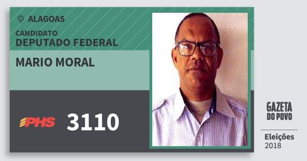 Santinho Mario Moral 3110 (PHS) Deputado Federal | Alagoas | Eleições 2018