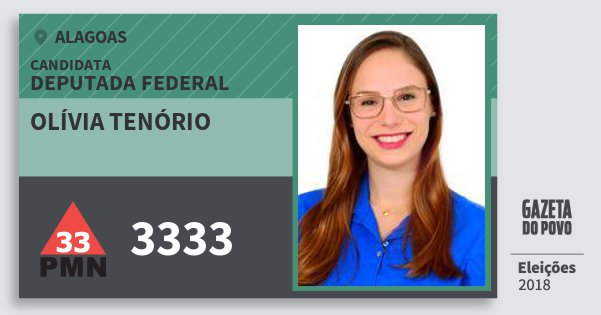 Santinho Olívia Tenório 3333 (PMN) Deputada Federal | Alagoas | Eleições 2018