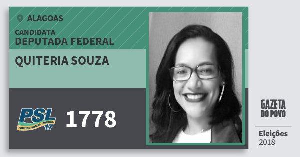 Santinho Quiteria Souza 1778 (PSL) Deputada Federal | Alagoas | Eleições 2018