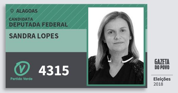 Santinho Sandra Lopes 4315 (PV) Deputada Federal | Alagoas | Eleições 2018