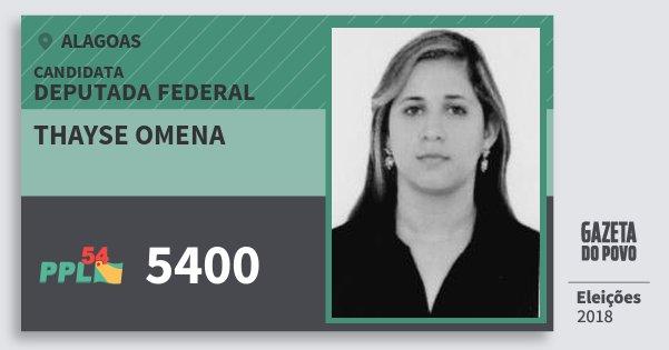 Santinho Thayse Omena 5400 (PPL) Deputada Federal | Alagoas | Eleições 2018