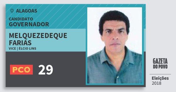 Santinho Melquezedeque Farias 29 (PCO) Governador | Alagoas | Eleições 2018