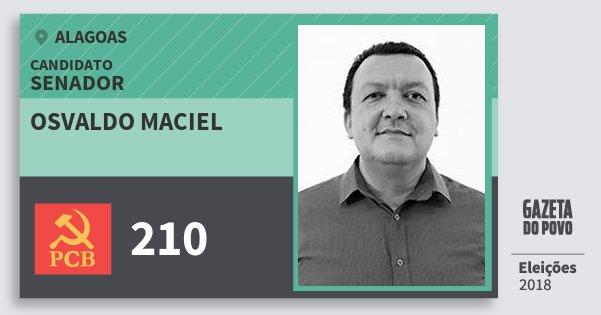 Santinho Osvaldo Maciel 210 (PCB) Senador | Alagoas | Eleições 2018