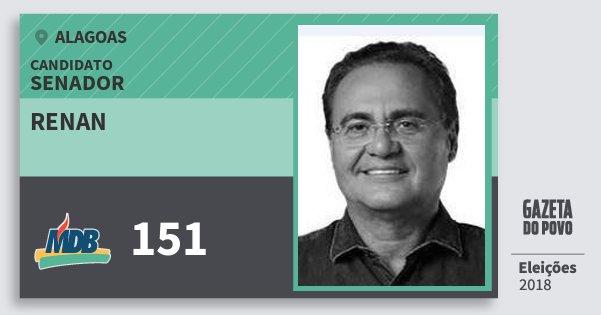 Santinho Renan 151 (MDB) Senador | Alagoas | Eleições 2018