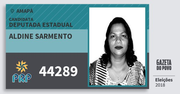 Santinho Aldine Sarmento 44289 (PRP) Deputada Estadual | Amapá | Eleições 2018
