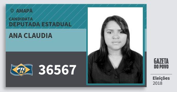 Santinho Ana Claudia 36567 (PTC) Deputada Estadual | Amapá | Eleições 2018