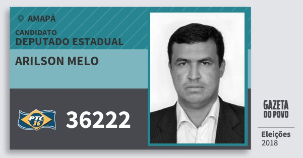 Santinho Arilson Melo 36222 (PTC) Deputado Estadual | Amapá | Eleições 2018