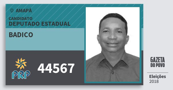 Santinho Badico 44567 (PRP) Deputado Estadual | Amapá | Eleições 2018