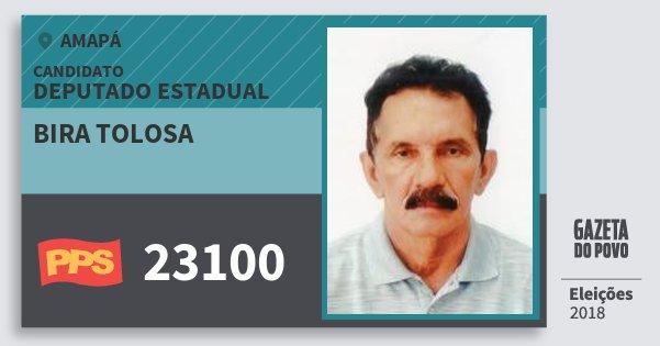Santinho Bira Tolosa 23100 (PPS) Deputado Estadual | Amapá | Eleições 2018