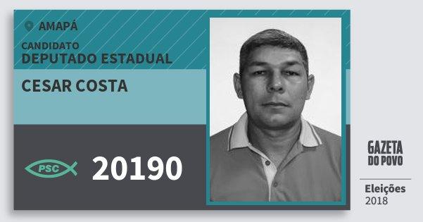 Santinho Cesar Costa 20190 (PSC) Deputado Estadual | Amapá | Eleições 2018