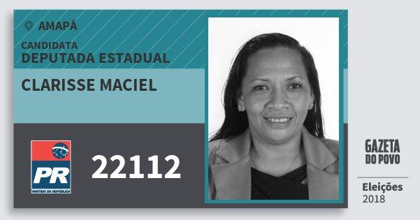 Santinho Clarisse Maciel 22112 (PR) Deputada Estadual | Amapá | Eleições 2018