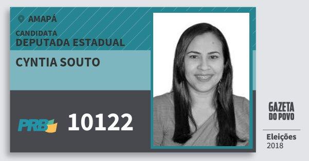 Santinho Cyntia Souto 10122 (PRB) Deputada Estadual | Amapá | Eleições 2018