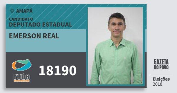 Santinho Emerson Real 18190 (REDE) Deputado Estadual | Amapá | Eleições 2018