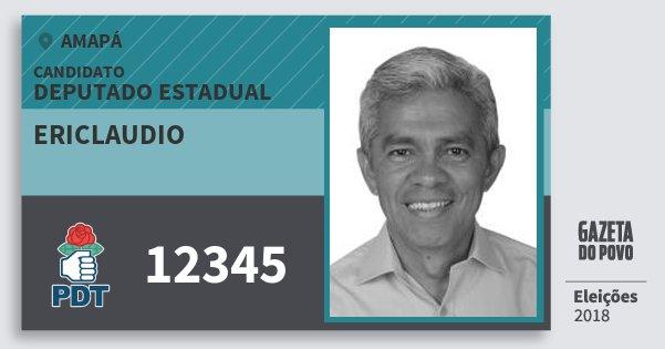 Santinho Ericlaudio 12345 (PDT) Deputado Estadual | Amapá | Eleições 2018