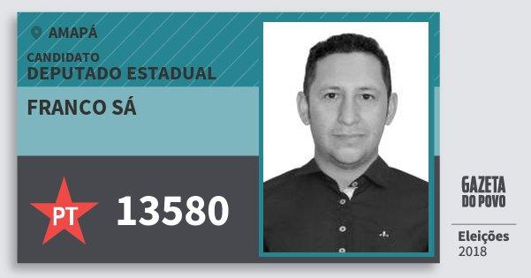 Santinho Franco Sá 13580 (PT) Deputado Estadual | Amapá | Eleições 2018