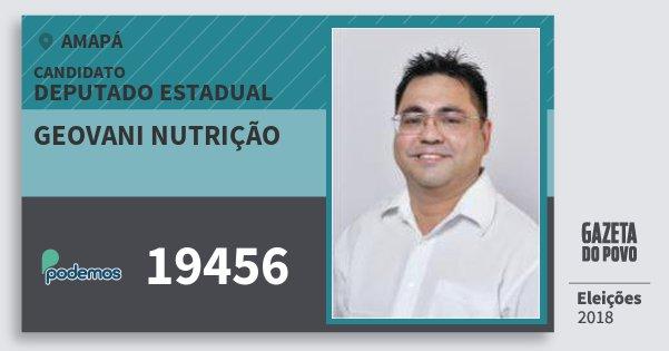 Santinho Geovani Nutrição 19456 (PODE) Deputado Estadual | Amapá | Eleições 2018