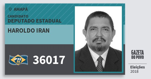 Santinho Haroldo Iran 36017 (PTC) Deputado Estadual | Amapá | Eleições 2018