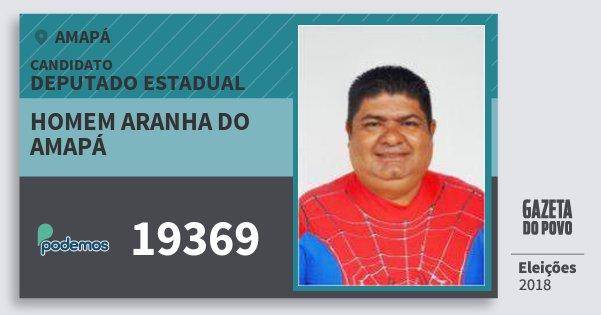 Santinho Homem Aranha do Amapá 19369 (PODE) Deputado Estadual | Amapá | Eleições 2018