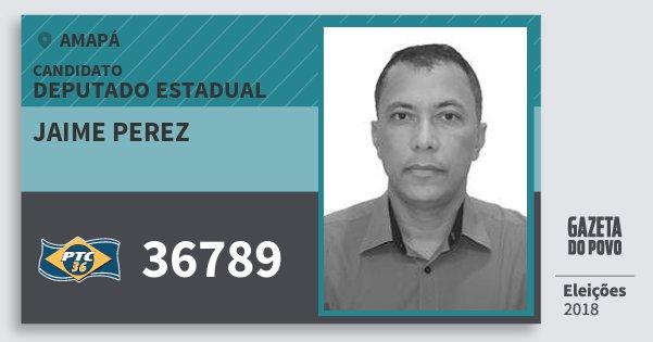 Santinho Jaime Perez 36789 (PTC) Deputado Estadual | Amapá | Eleições 2018