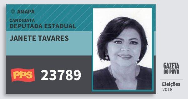 Santinho Janete Tavares 23789 (PPS) Deputada Estadual | Amapá | Eleições 2018