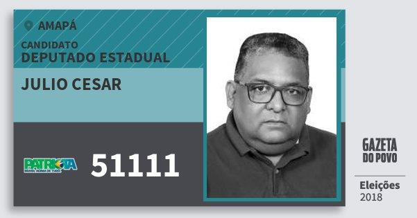 Santinho Julio Cesar 51111 (PATRI) Deputado Estadual | Amapá | Eleições 2018