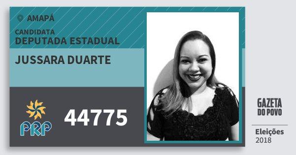 Santinho Jussara Duarte 44775 (PRP) Deputada Estadual | Amapá | Eleições 2018