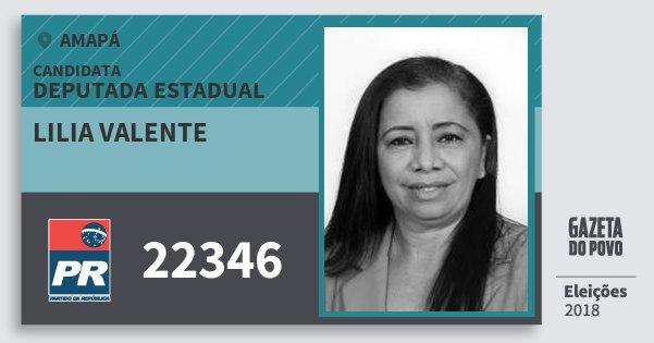 Santinho Lilia Valente 22346 (PR) Deputada Estadual | Amapá | Eleições 2018