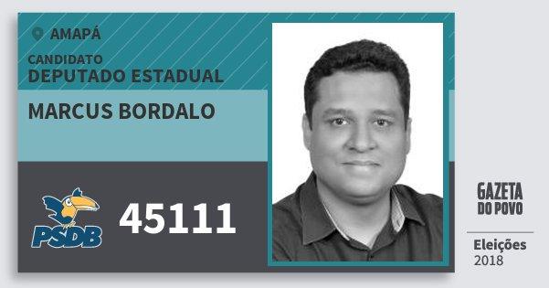 Santinho Marcus Bordalo 45111 (PSDB) Deputado Estadual | Amapá | Eleições 2018