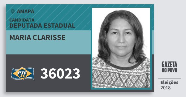 Santinho Maria Clarisse 36023 (PTC) Deputada Estadual | Amapá | Eleições 2018