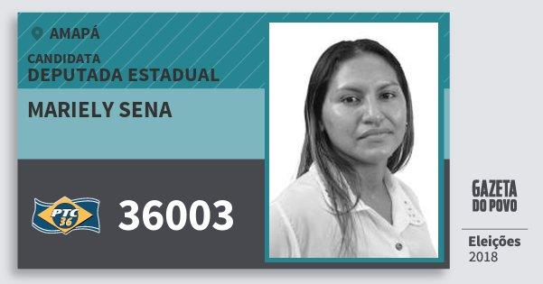 Santinho Mariely Sena 36003 (PTC) Deputada Estadual | Amapá | Eleições 2018