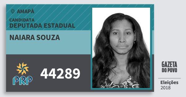 Santinho Naiara Souza 44289 (PRP) Deputada Estadual | Amapá | Eleições 2018