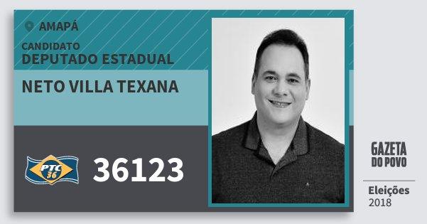 Santinho Neto Villa Texana 36123 (PTC) Deputado Estadual | Amapá | Eleições 2018
