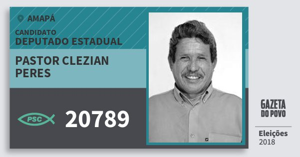 Santinho Pastor Clezian Peres 20789 (PSC) Deputado Estadual | Amapá | Eleições 2018
