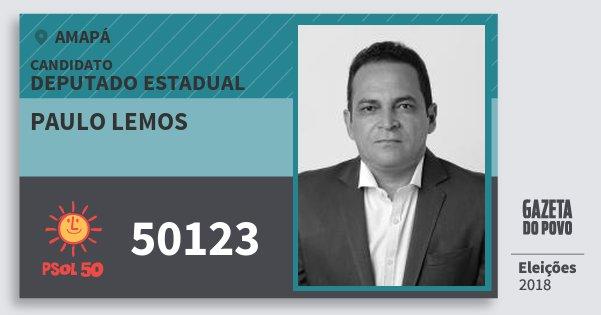 Santinho Paulo Lemos 50123 (PSOL) Deputado Estadual | Amapá | Eleições 2018