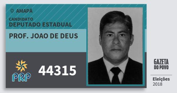 Santinho Prof. Joao de Deus 44315 (PRP) Deputado Estadual | Amapá | Eleições 2018