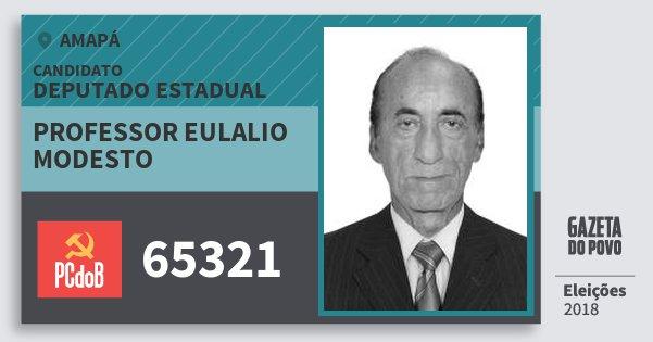 Santinho Professor Eulalio Modesto 65321 (PC do B) Deputado Estadual | Amapá | Eleições 2018
